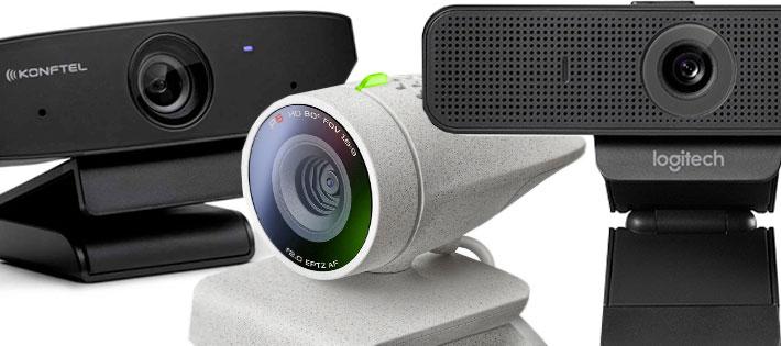 Tre prisvärda webbkameror för kontoret: Poly Studio P5, Logitech Webcam C925e och Konftel Cam10